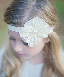 Akinos Kids Mesh Yarn Flower Headband - White