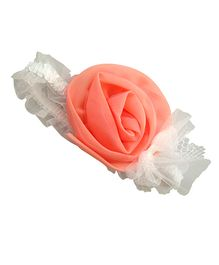 Akinos Kids  Big Flower Bow Stitched Headband - Peach