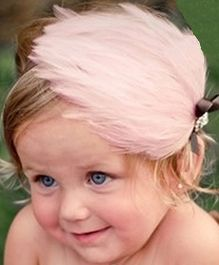 Akinos Kids Feather Headband With Rhinestone - Baby Pink