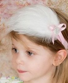 Akinos Kids  Feather Headband With Rhinestone - White