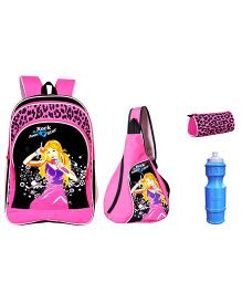 Avon Rockstar Black & Pink 18 Inches School Backpack Combo