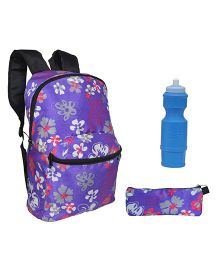 Avon Bags F-Lightpak Hibiscus Print 15 Litres Backpack Combo - Purple