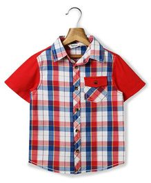 Beebay Half Sleeve Check Shirt - Red