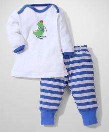 Urban Fashion Dino Print To & Pant Set - Blue
