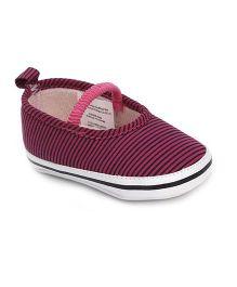 Luvable Friends Stripe Print Shoes - Pink