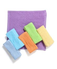 Luvable Friends Pack Of 6 Wash Cloths - Multicolour