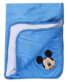 Disney International Velvet Blanket Mickey Mouse Design - Aqua Blue