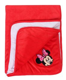 Disney International Velvet Blanket Minnie Mouse Design - Red Blue