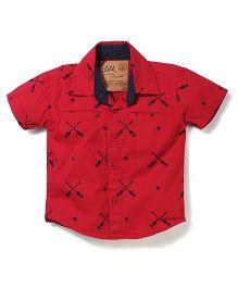 Little Kangaroos Half Sleeves Shirt Crossed Oars Print - Red