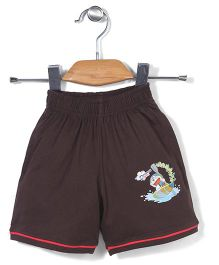 Red Ring Shorts Doraemon Print - Brown
