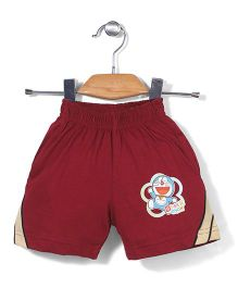 Red Ring Shorts Doraemon Print - Maroon