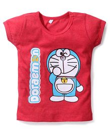 Red Ring Short Sleeves Top Doraemon Print - Red