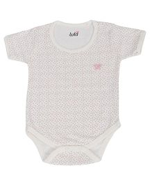 Lula Half Sleeves Onesie Hearts Print - White