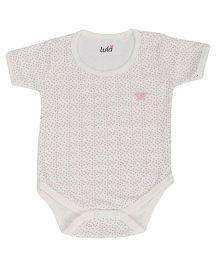 Lula Half Sleeves Onesie Hearts Print - White