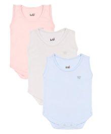 Lula Sleeveless Onesies Pack of 3 - Blue Peach Pink