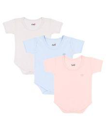 Lula Half Sleeves Onesies Pack of 3 - Blue Off White Pink