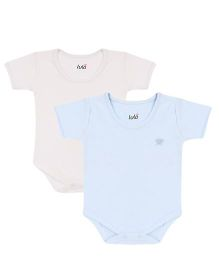 Lula Half Sleeves Onesies Pack of 2 - Blue and Off White