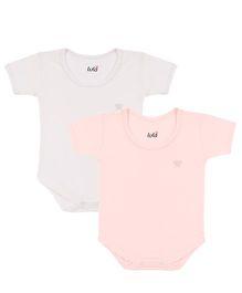 Lula Half Sleeves Onesies Pack of 2 - Off White and Pink