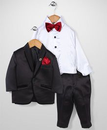 Zeal 4 Piece Party Suit With Bow - Black & White