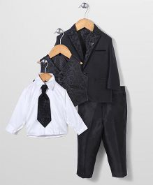 Zeal 4 Piece Party Suit With Tie - Black & White