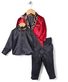 Zeal 3 Pieces Party Wear Suit With Printed Bow - Maroon & Black