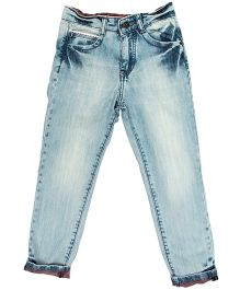 Bees And Butterflies Stone Wash Denim Trouser - Ice Blue