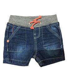 Bees And Butterflies Stone Wash Denim Shorts - Blue