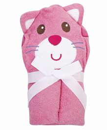 Luvable Friends Cat Shape Hooded Towel - Greyish Pink