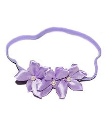 Bling & Bows Headband With Flower Applique - Purple