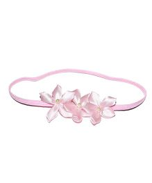 Bling & Bows Headband With Flower Applique - Pink