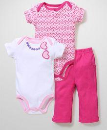 Luvable Friends Set Of 2 Onesies & Leggings - Pink