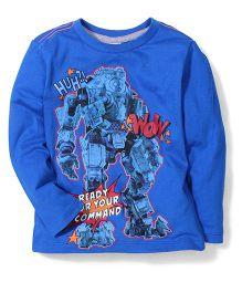 Sela Full Sleeves T-Shirt Robot Print - Blue