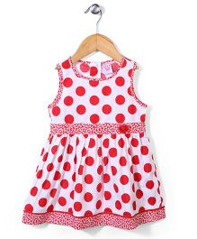 Sela Sleeveless Frock Polka Dot Print - Poppy Red