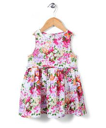 Sela Sleeveless Frock Floral Print - Multicolor
