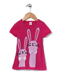 Sela Half Sleeves Sweat Dress Rabbit Print & Bow Applique - Fuchsia Pink