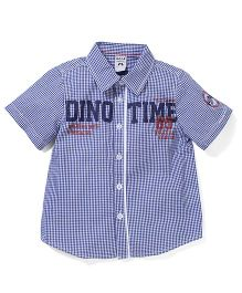 Sela Half Sleeves Check Shirt Dino Print - Blue