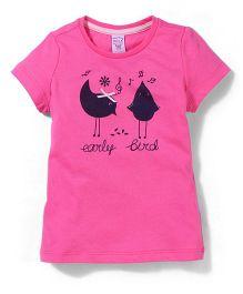 Sela Short Sleeves Top Bird Print - Pink