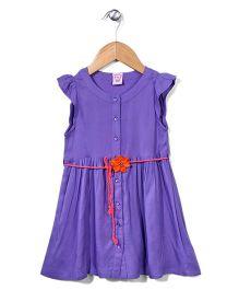 Sela Short Sleeves Frock Floral Applique - Violet