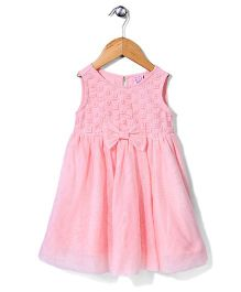 Sela Sleeveless Frock Bow Design - Light Pink