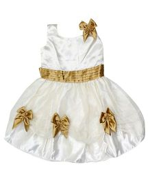 Winakki Kids Sleeveless Satin Printed Girls Party Dress - Cream