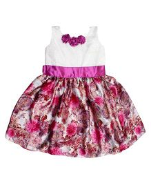 Winakki Kids Sleeveless Satin Printed Girls Party Dress - Pink