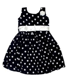 Winakki Kids Sleeveless Crepe Printed Girls Dress - Black