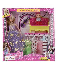 Doll And Accessories Set Purple - Height 28.5 cm