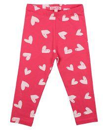 CrayonFlakes Smiling Hearts Leggings - Bright Pink