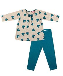 CrayonFlakes Smiling Hearts Top with Leggings Set -Turquoise