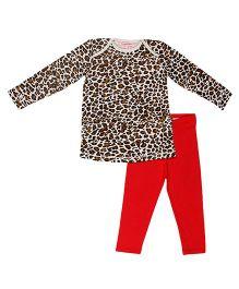 CrayonFlakes Animal Print Top with Leggings Set - Red