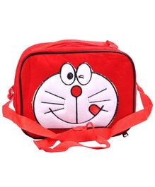 Doraemon Kids Tiffin Sling Bag With Insulation Fur Finish - Red