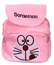 Doraemon Kids School Bag With Tiffin Pocket Fur Finish - Light Pink