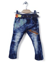 Noddy Stone Washed Patched Jeans - Blue