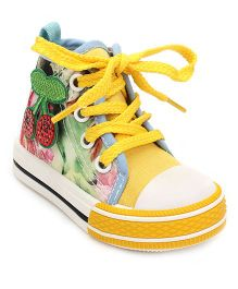 DingDingWa Printed Baby Shoes - Yellow